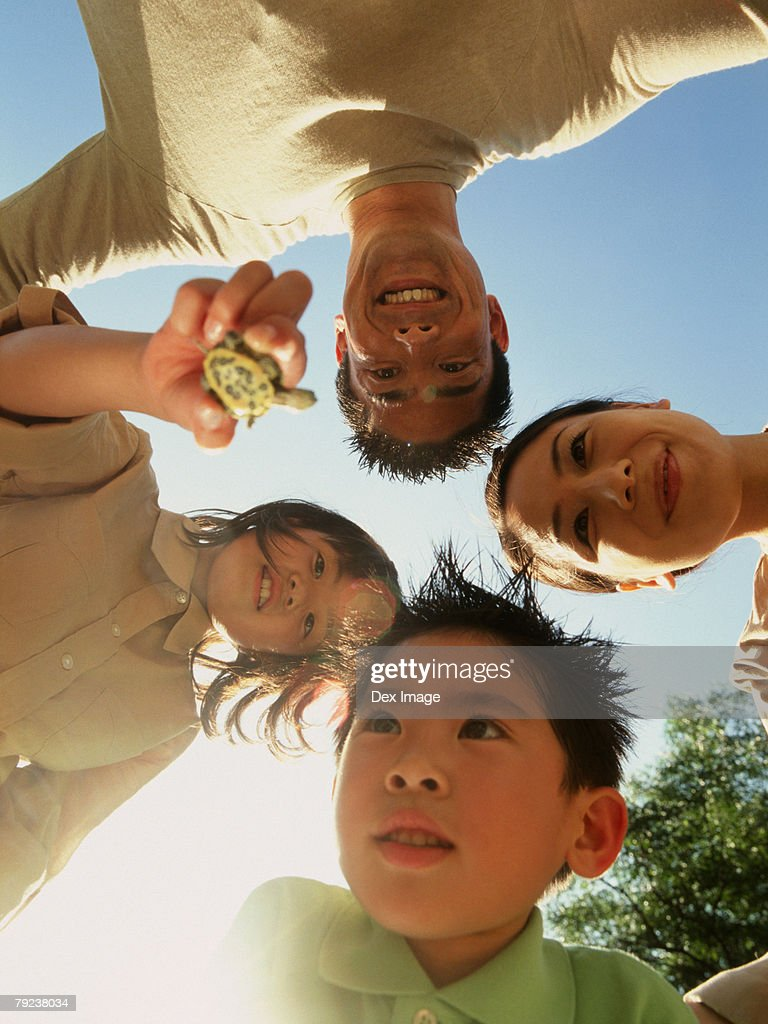 Family of four standing in circle, daughter holding terrapin, underneath view : Stock Photo