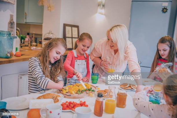 Family of Girls Preparing Food!
