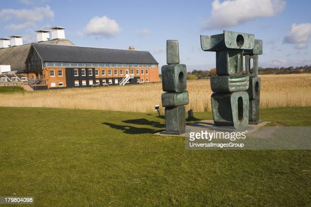 Family of Man' sculpture by Barbara Hepworth at Snape Maltings Suffolk England