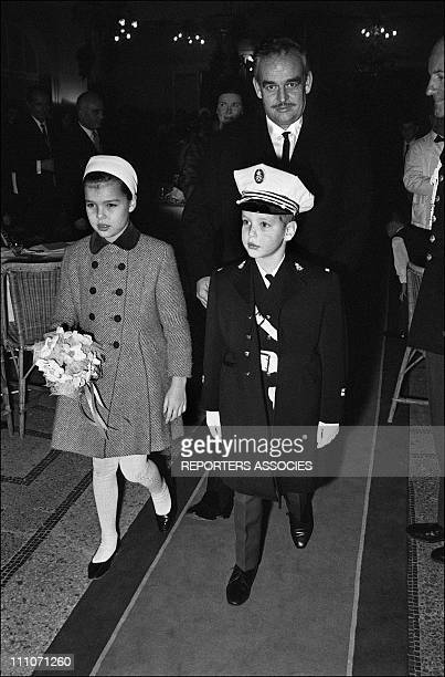 Family Of Monaco At Christmas Princess Caroline Prince Albert And Father Prince Rainier In Monaco On December 31 1964
