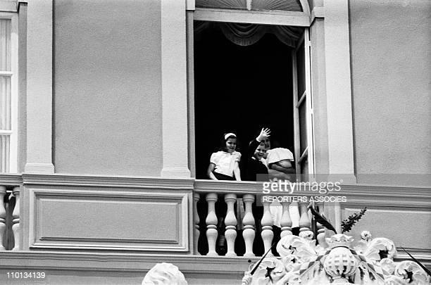 Family of Monaco Princess Caroline and Prince Albert at the balcony on May 19th1966
