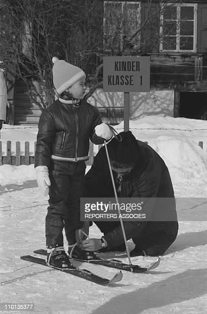 Family of Monaco Princess Stephanie of Monaco in Gstaad Switzerland in February 1969