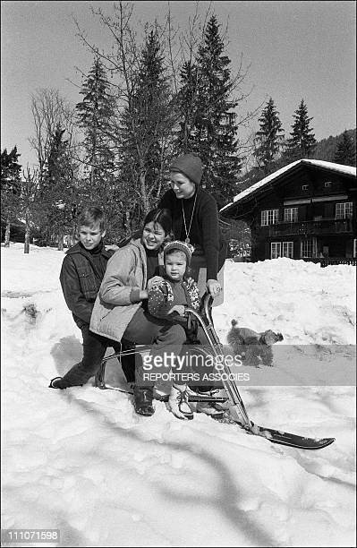 Family Of Monaco Skiing At Gstaad Princess Grace With Prince Albert Princess Caroline And Stephanie In Gstaad Switzerland On February 1969