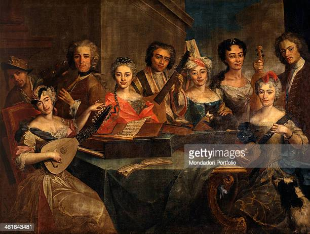 Family of Musicians by Unknown Artist close to Carlo Amalfi 18th Century oil on canvas Italy Lombardy Milan Castello Sforzesco Civic Collection of...