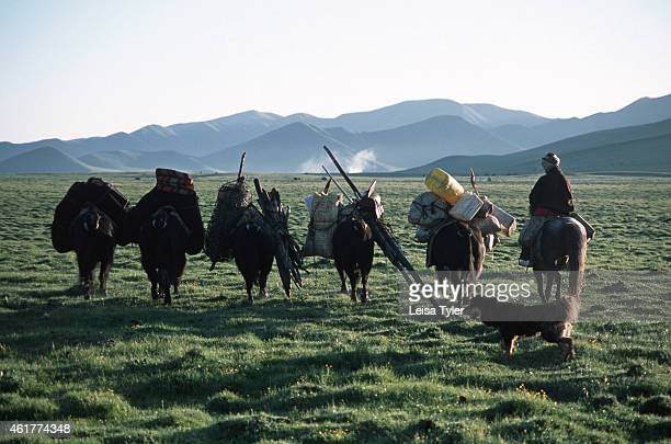 A family of nomadic Golok people migrating to their traditional summer pastures in eastern Tibet Occupied by Chinese forces during China's communist...