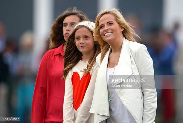 Family of Phil Mickelson children Sophia and Amanda and wife Amy look on after his victory during the 142nd Open Championship at Muirfield on July 21...