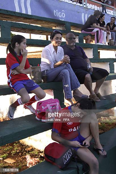 Family of players sit in the stands during the FIFA Women's Football Initiative on October 27 2011 in Asuncion Paraguay