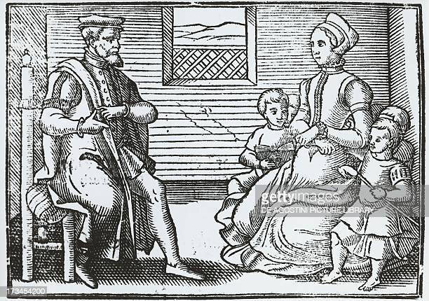 Family of Puritans engraving England 16th century