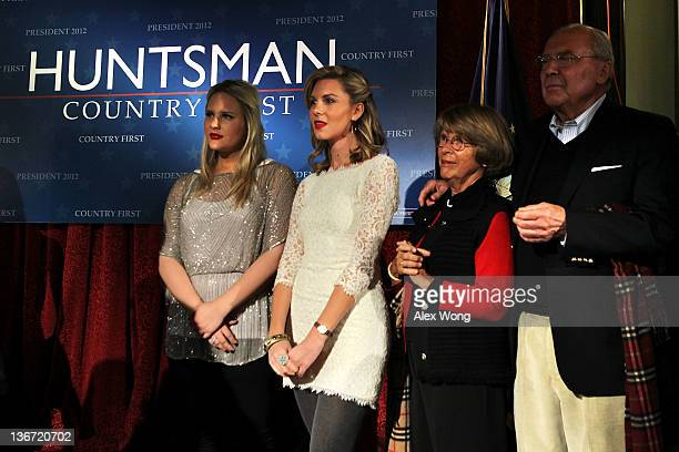 Family of Republican presidential candidate and former Utah Gov. Jon Huntsman, daughters Liddy and Mary Anne, mother Karen and father Jon Huntsman...