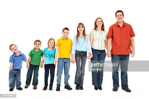 family of seven holding hands - heterosexual couple stock pictures, royalty-free photos & images