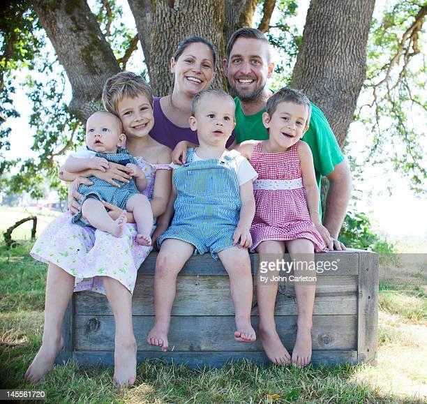 Family of six on farm