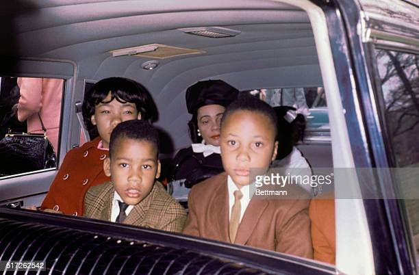 Family of slain civil rights leader Dr Martin Luther King Jr in car on the day of viewing his body as it lies in state at Sister's Chapel at Spelman...
