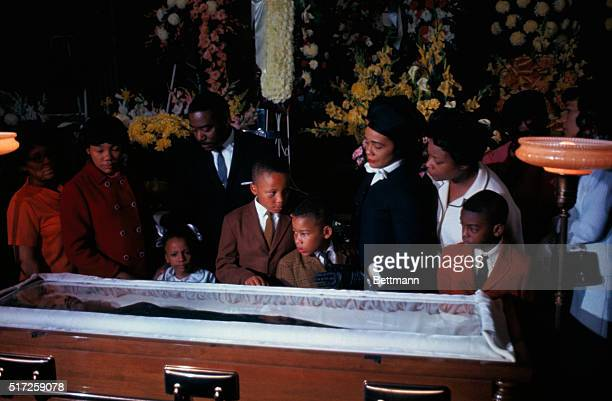 Family of slain civil rights leader Dr Martin Luther King view his body as it lies in state at Sister's Chapel at Spelman College Left to right...