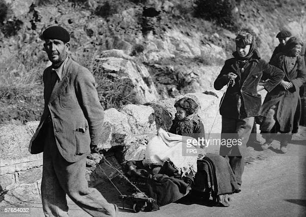 A family of Spanish refugees flees to France during the Spanish Civil War 7th February 1939