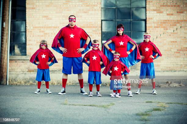 family of superheroes - superhero stock pictures, royalty-free photos & images