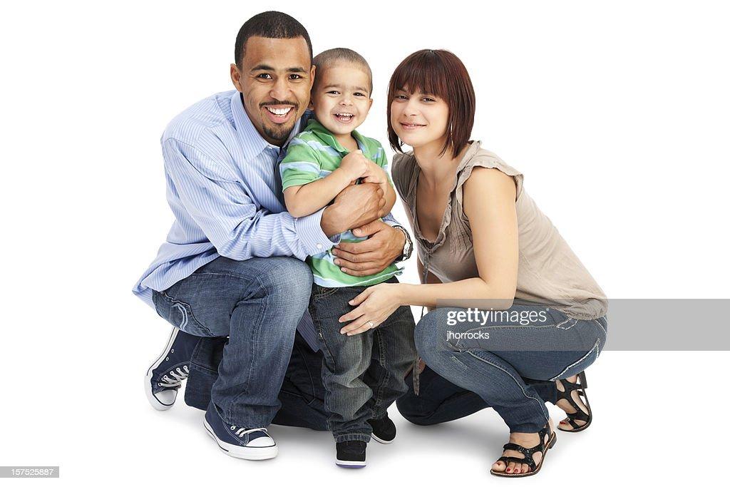 Family of Three on White : Stock Photo