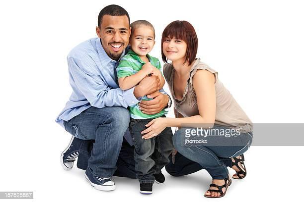 Familie von drei auf Weiß