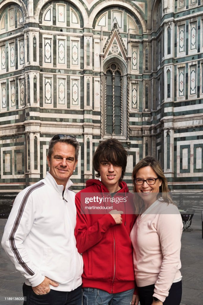 Family of three visiting Florence, Italy. : Stock Photo