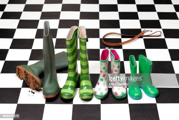 Family of wellington boots
