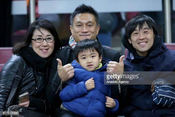 Family of Yuto Nagatomo pose for a photo during the Turkish Super Lig soccer match between Galatasaray and Antalyaspor at Turk Telekom Stadium in...