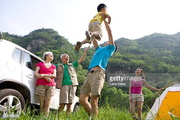 Family on a camping trip