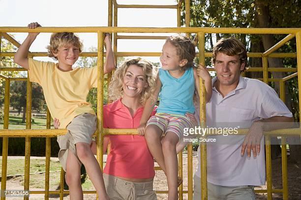 Family on a climbing frame