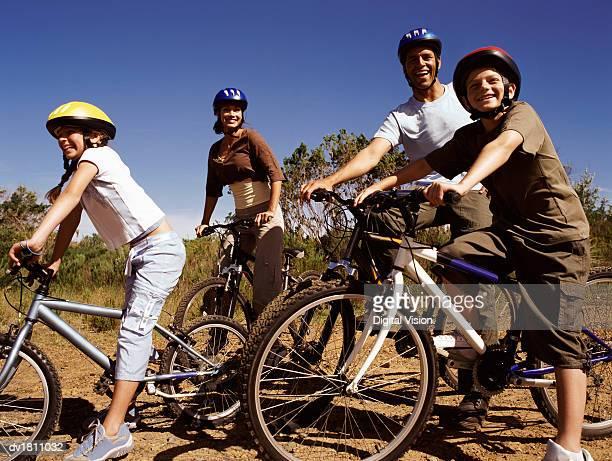 Family on a Day Out Riding Their Mountain Bikes