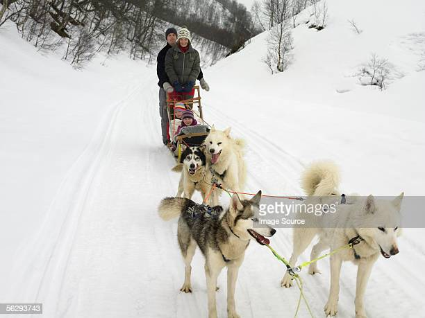 Family on a dog sled