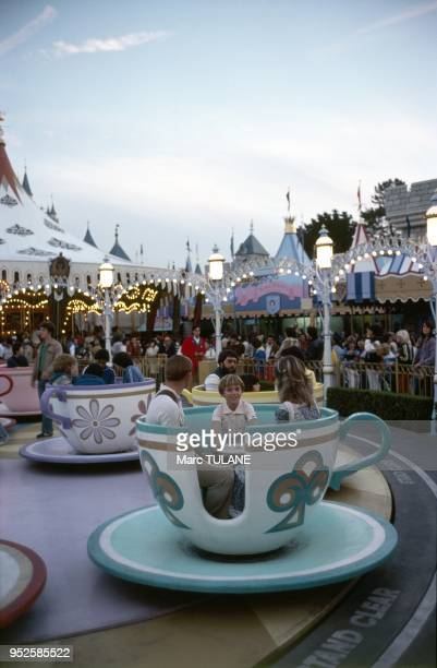 family on a ride at Disneyland California USA