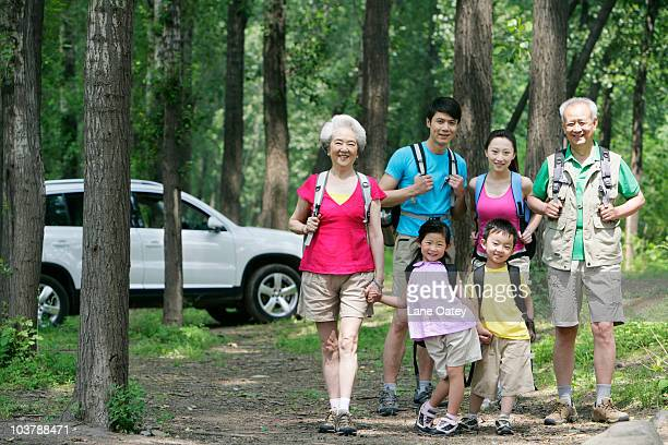 Family on a trip out in the country