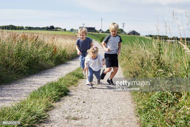 Family on a walk in the countryside