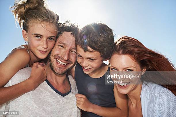 Family on beach, portrait,  close up