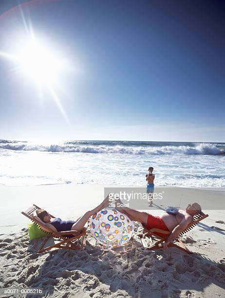 Family on Beach Relaxation