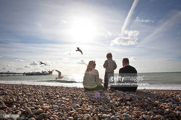 Family on Brighton beach