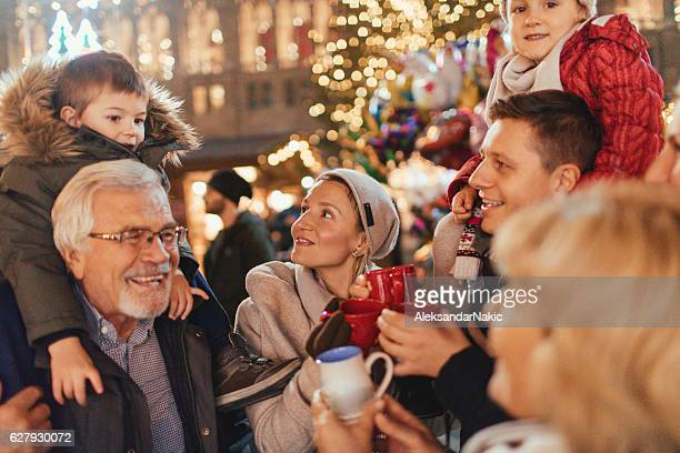 Family on Christmas market