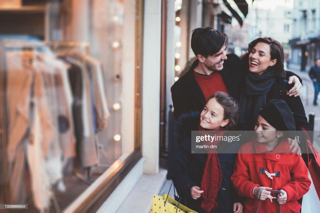 Family on Christmas shopping : Stock Photo