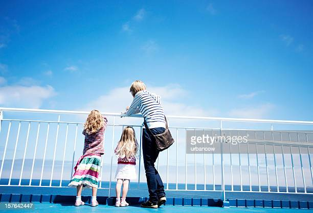 family on ferry - ferry stock photos and pictures