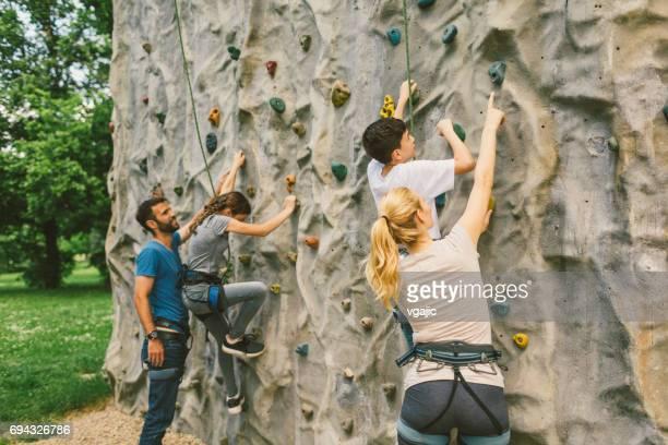 Family on free climbing