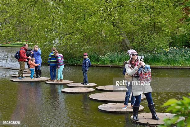Family on Lake at Keukenhof Gardens