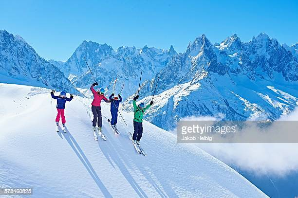 family on ski trip, chamonix, france - chamonix stock pictures, royalty-free photos & images