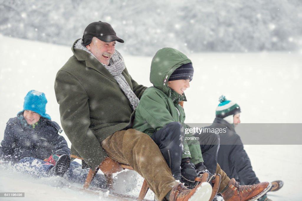 Family on snow : Stock Photo