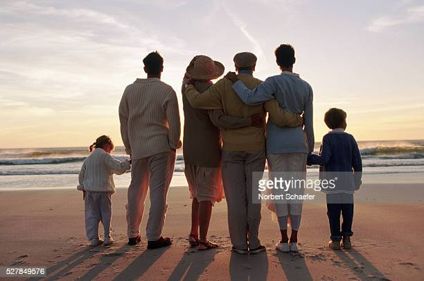 Family on the beach at sundown