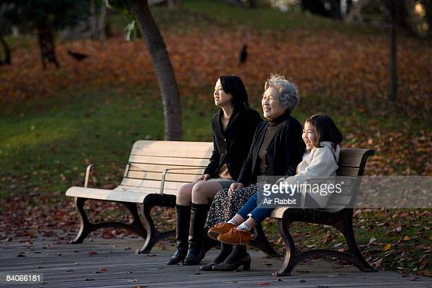 Family on the bench in the park