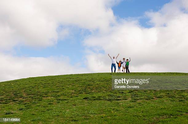 Family on top of hill