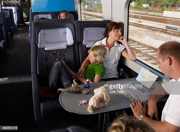 Family on train