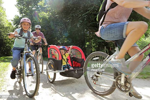 Family out cycling