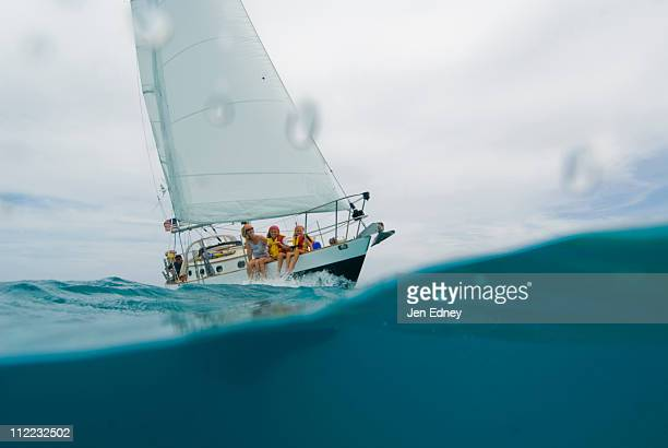 A family out for a day sail in Georgetown, Exumas