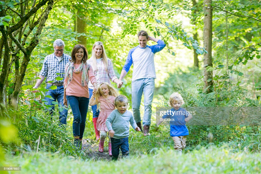 Family out for a walk : Stock Photo