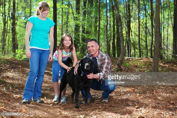 family outdoor with dog