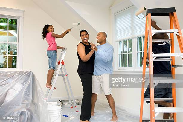 Family painting together